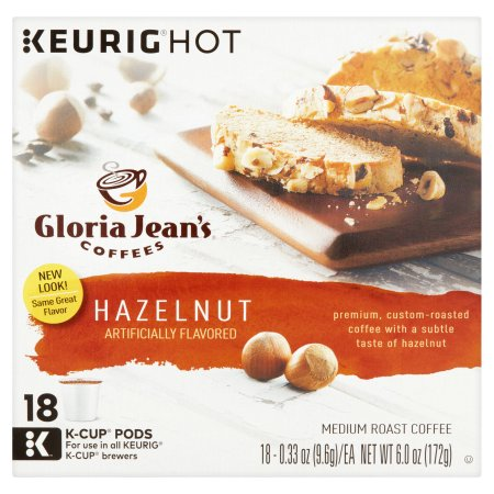 Keurig K-Cups,Gloria Jean's Hazelnut Coffee, 18 ct