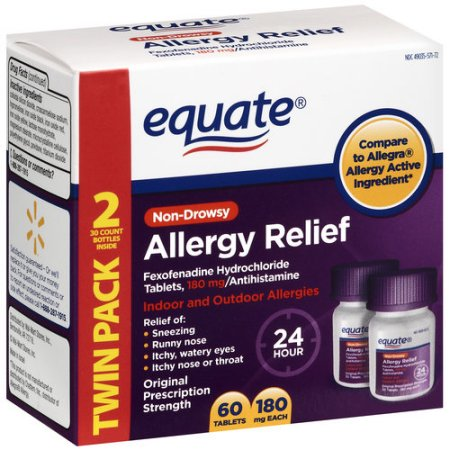 Equate Fexophenadine Allergy Relief 180MG, 2X30 count