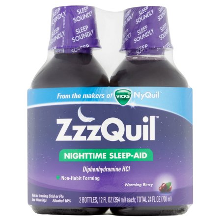 ZzzQuil Nighttime Sleep-Aid Warming Berry Liquid, 12 fl oz, (Pack of 2)