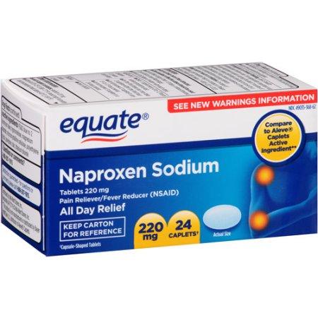 Equate Naproxen Sodium 220mg Caplets, 24 count