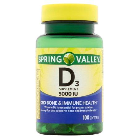 Spring Valley: Vitamin D-3 Maximum Strength Softgels 5000 Iu Dietary Supplement, 100 ct
