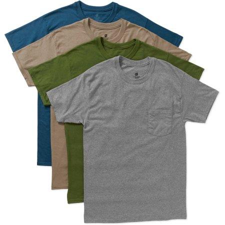 Hanes Men's FreshIQ Tagless ComfortSoft Dyed Pocket Tee 4-Pack