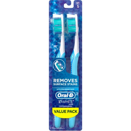 Oral-B 3D White Vivid 35 Soft Manual Toothbrush, 2 count