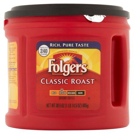 Folgers Classic Roast Ground Coffee Medium, 30.5 OZ