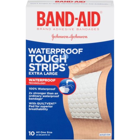 Band-Aid Brand Tough-Strips Waterproof Adhesive Bandages, Extra Large, 10 Count