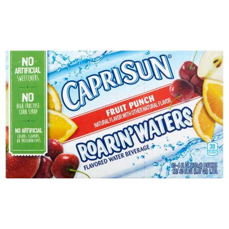 Capri Sun Roarin' Waters Fruit Punch Beverage, 10 count, 60 FL OZ (1.77l)