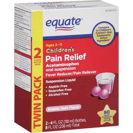 Equate Acetaminophen Bubble Gum, 2X4 oz