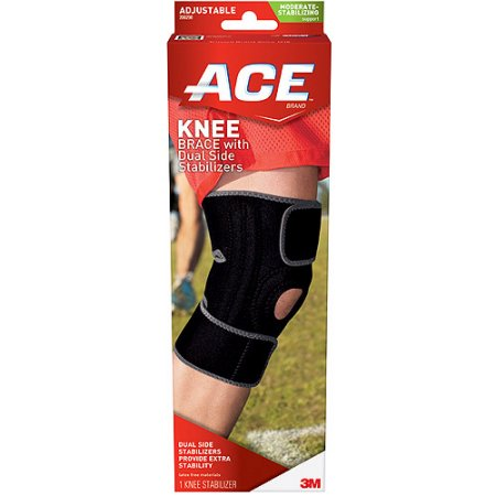 ACE Knee Brace with Dual Side Stabilizers, One Size Adjustable, 200290