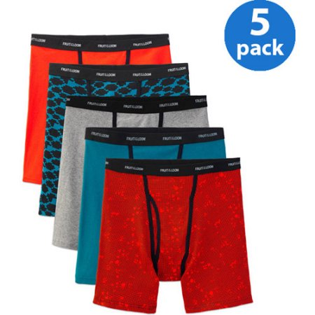 Fruit of the Loom Men's Ringer Style Assorted Color Boxer Briefs, 5-Pack
