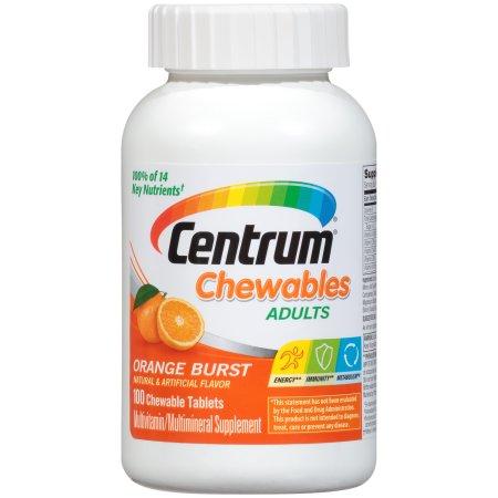 Centrum Chewables Multivitamin/Multimineral Supplement in Orange Burst Flavor 100 Count