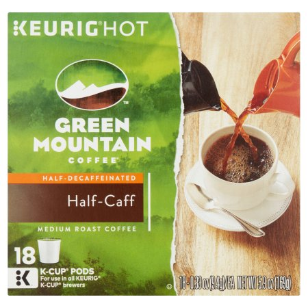 Keurig K-Cups, Green Mountain Half Caff Coffee K-Cups, 18ct