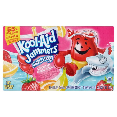 Kool-Aid Jammers Sharkleberry Fin Flavored Drink, 10 count, 60 FL OZ (1.77l) Pouches