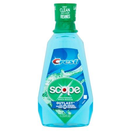 Crest Scope Outlast Long Lasting Peppermint Mouthwash, 33.8 fl oz