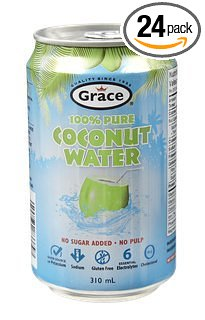100% Natural Coconut Water - No Sugar Added - No Pulp - Can 24 Pack / 310 ml - Grace Foods